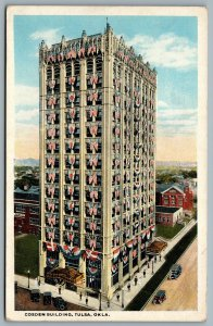 Postcard Tulsa OK c1919 Cosden Building American Flags Mid Continent Tower