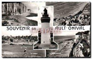 Modern Postcard Ault Onival cliffs sand beach in summer