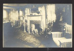 RPPC GORHAM MAINE RESIDENCE HOME INTERIOR VINTAGE REAL PHOTO POSTCARD
