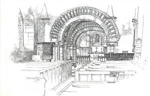 Elkstone Glos UK~Norman Church Interior Sketch 1940 B&W