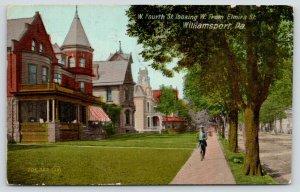 Williamsport Pennsylvania~West Fourth Street West @ Elmira~Man on Sidewalk~1911