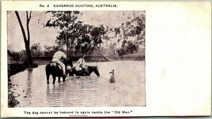 Vintage 1900s AUSTRALIA Animal Postcard No. 3 KANGAROO HUNTING Hunters Dog