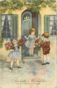 Birthday greetings signed Hannes Petersen vintage postcard children fantasy