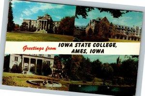 Ames Iowa State College Greetings Beardshear Hall, Lake, Chrome c1961 Postcard