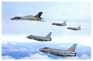 Postcard RAF Avro Vulcan B.2 Waddington Wing, English Electric Lightning F.6 23C