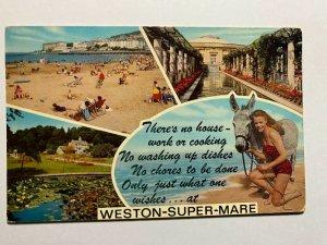 POSTED  1974  VINTAGE MULTI POSTCARD - WESTON SUPER MARE  (KK700)