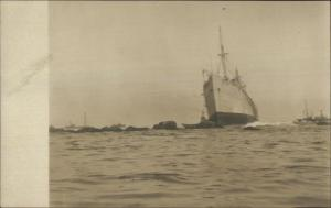 Unidentified Shipwreck Ship Wreck Disaster c1910 Real Photo Postcard