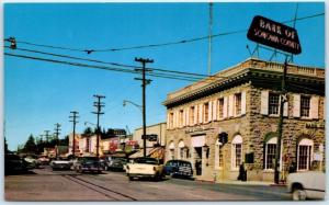 SEBASTOPOL, California CA   STREET SCENE  Bank of Sonoma County c1950s Postcard