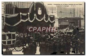 Old Postcard From Paris Funerals Queen Isabel L & # 39Arrivee From Cortege