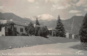 Pike's Peak from El Colorado Lodge, Manitou, CO., Early Real Photo Postcard,