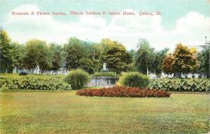 C-1910 QUINCY ILLINOIS Fountain Flower Garden Soldiers Sailors postcard 5317