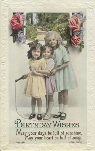 Postcard Greetings bright birthday childrens flowers