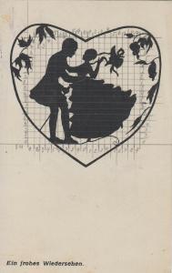 Scherenschnitt M. Behrens lovers couple silhouette farewell