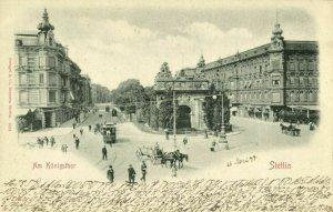 poland, SZCZECIN STETTIN, Am Königsthor, Tram (1899) Postcard