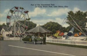 Lake Milton OH Craig Beach Amusement Park Ferris Wheel Rides NICE LINEN PC