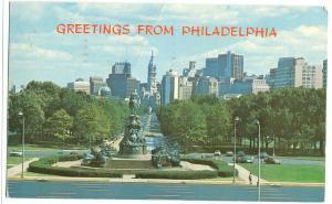 USA, Greetings from Philadelphia, 1970s used Postcard