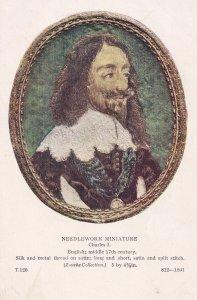 Charles I 1st Silk Needlework Miniature Portrait Old Postcard