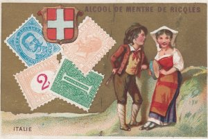 Trade Card (TC): Stamps & Native Couple , 1880-90s ; Italy