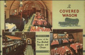 Chicago IL Michigan Ave at Cermak Covered Wagon Restaurant Linen Postcard