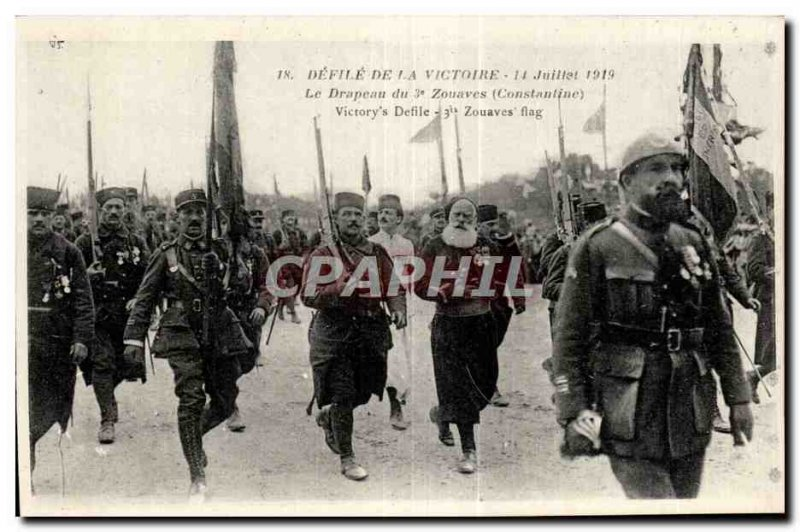 Old Postcard Army July 14, 1919 Defile Victory Flag 3rd Zouaves Constantine A...