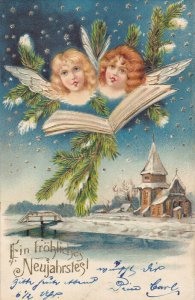 NEW YEAR: Ein Frohliches Neujahrstegl, Angel faces, music sheets, starry ni...