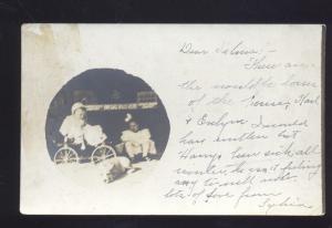 RPPC 1907 CHICAGO ILLINOIS CUTE CHILDREN IN BUGGY WILMINGTON DELAWARE POSTCARD