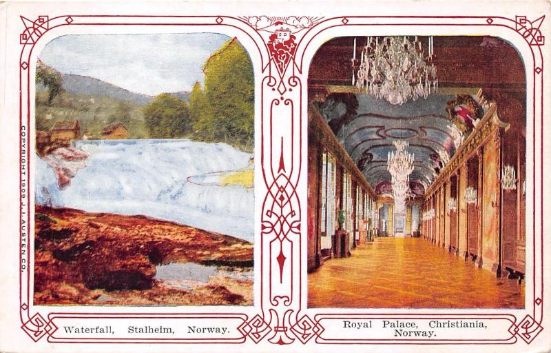 STALHEIM NORWAY WATERFALL & CHRISTIANIA ROYAL PALACE~DECO BORDER POSTCARD 1910s
