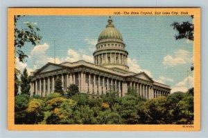 Salt Lake City UT, The State Capitol, Linen Utah Postcard