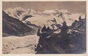 Schweiz Morteratschgletscher mit Piz Palu und Bellavista Real Photo