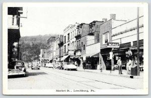 Leechburg PA~Market Street~Cut Rate Drug~Sealtest Ice Cream~1940-50 Cars~B&W