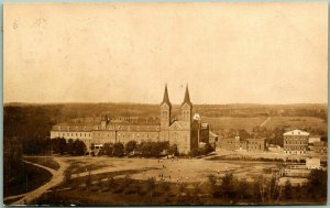 Vintage RPPC Real Photo Postcard College Campus / Church Bldg Aerial View 1911