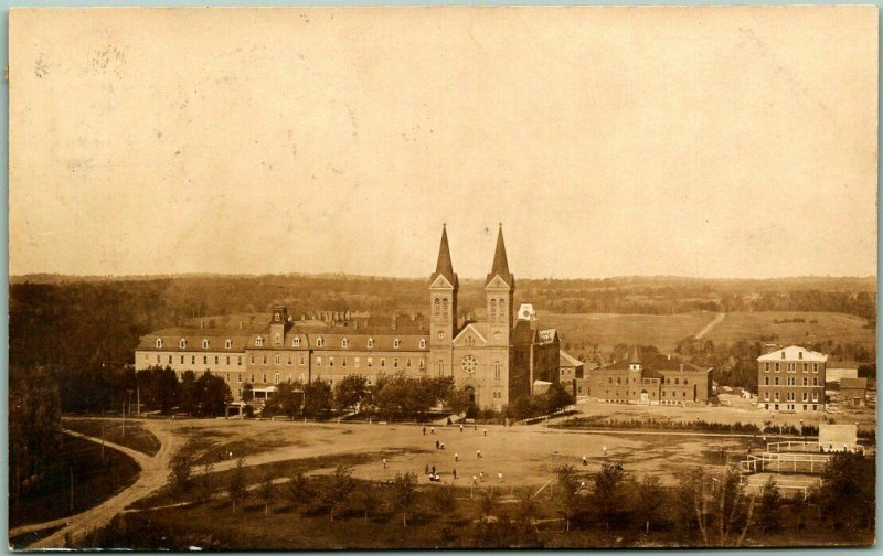 Vintage RPPC Real Photo Postcard College Campus / Church Bldg Aerial View 1911