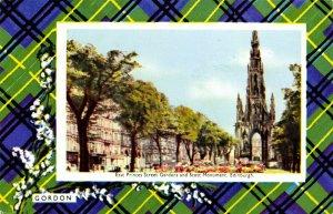 Vintage Postcard Edinburgh Princess Street Scott Monument Gordon Clan Tartan 12X