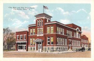 Chickasha Oklahoma City Hall And Fire Department Antique Postcard K12917