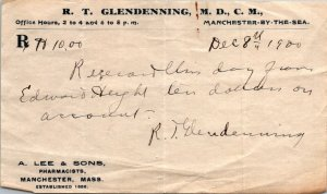 Dr RT Glendenning Manchester-by-the-Sea MA receipt on Rx pad Edward Height 1900