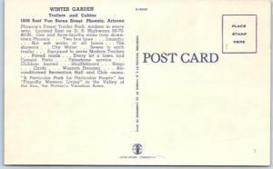 PHOENIX, Arizona  AZ   Roadside  WINTER GARDEN Cabins & Trailers c1940s Postcard