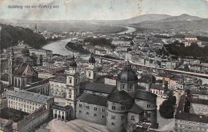 Salzburg von der Festung aus Gesamtansicht Kirche Church Bridges River