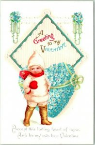 1910s VALENTINE'S DAY Embossed Postcard Forget-Me-Not Flower Heart - Clapsaddle