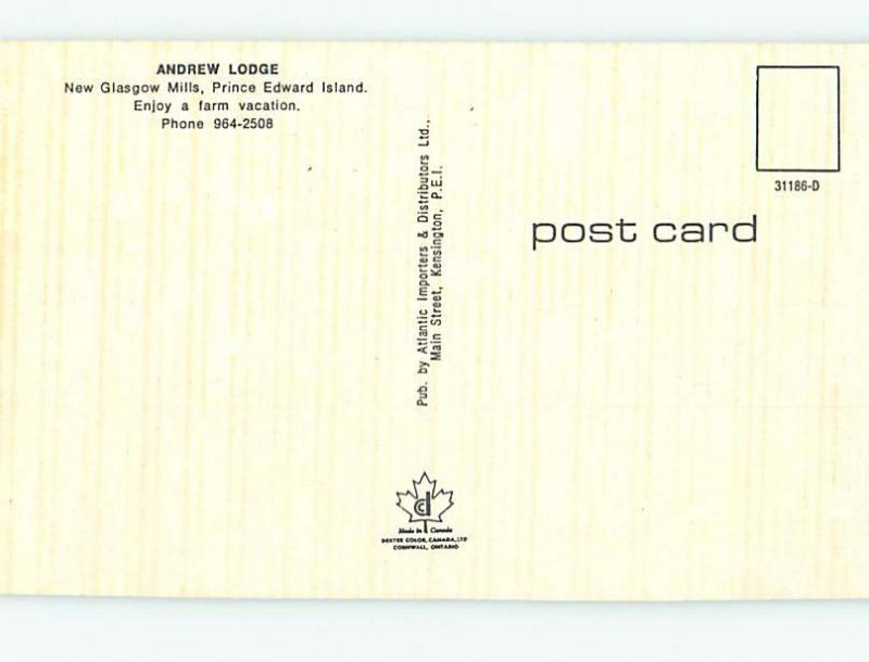Pre-1980 ANDREW LODGE MOTEL New Glasgow Mills Prince Edward Island PE o0538