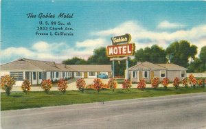 Colorpicture Fresno California Gables Motel Roadside US 99 1940s Postcard 6015