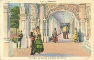 A Palace Corridor America's Exposition in San Diego California 1935 Postcard