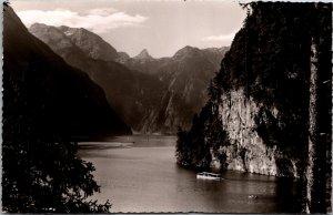 Königssee Bavaria Germany Landscape Mountains boats vintage postcard