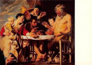 Jacob Jordaens, Der Satyr beim Bauern, Schloss Wilhelmshohe Postcard