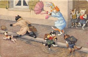 F60/ Alfred Mainzer Dressed Cats Postcard c1940s Rain Storm Umbrella 18