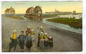 Children dressed in typical costumes, Elland Marken, Noord-Holland, Netherlan...