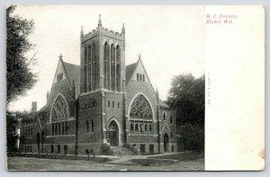 Beloit Wisconsin~Methodist Episcopal ME Church Corner~1908 B&W Postcard