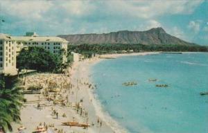Hawaii Honolulu Moana Hotel And Beach From Roof Of Royal Hawaiian