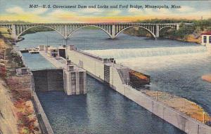 U S Government Dam and Locks and Ford Bridge Minneapolis Minnesota Curteich