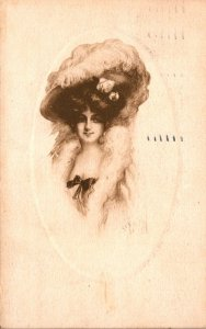 Beautiful Lady With Large Hat 1912
