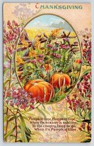 Thanksgiving~Purple Wildflower Garden Path Leads to Pumpkin Patch Portal~Emboss